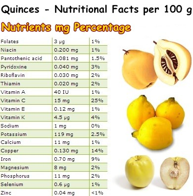 Nutritional Facts Quinces