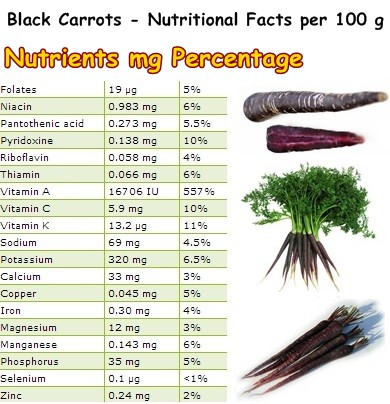 Nutritional Facts Black Carrots