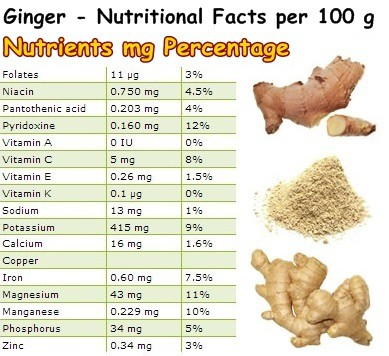 Nutritional Facts Ginger