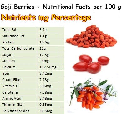 Nutritional Facts Goji Berries
