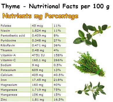 Nutritional Facts Thyme