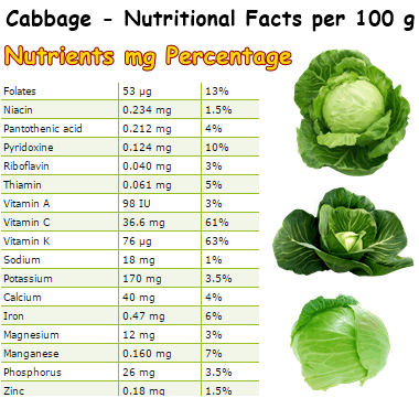 Nutritional Facts Cabbage