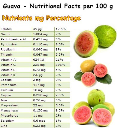 Nutritional Facts Guava