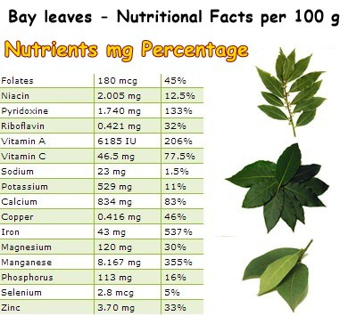 Nutritional Facts Bay leaves