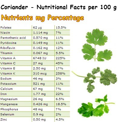 Nutritional Facts Coriander