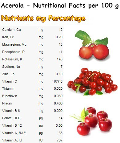 Nutritional Facts Acerola