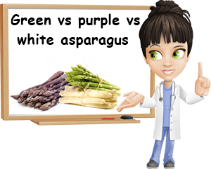 Green versus purple vs white asparagus