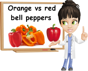 Red versus orange bell pepper