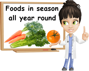Fruits vegetables in season all year round