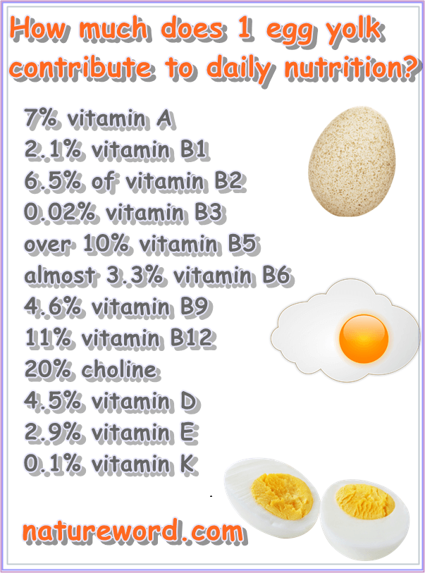Vitamins per one egg yolk