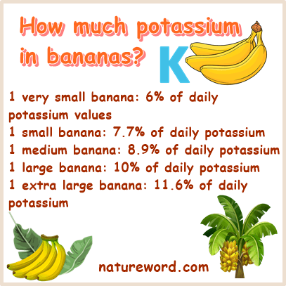 How much potassium in bananas
