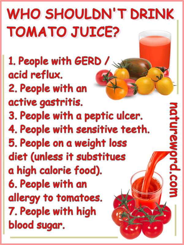 Who shouldn't drink tomato juice